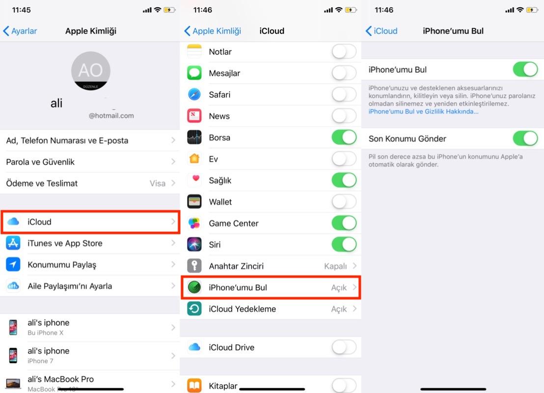 iOS aygıtınızın veya Mac'inizin konumunu belirlemek için